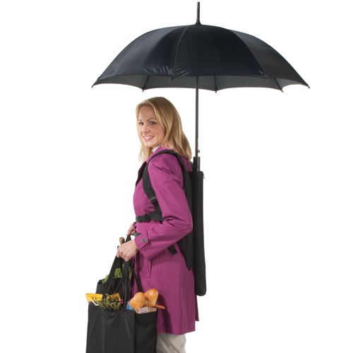 81203 Backpack Umbrella frees your hands for more important things wtf Technology