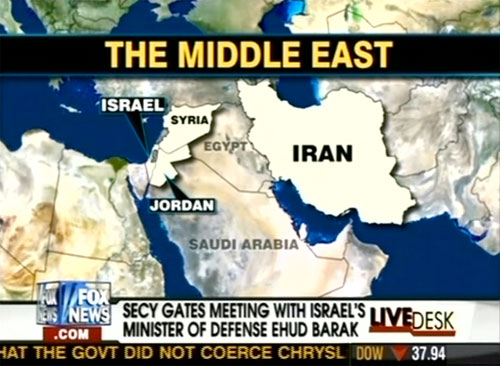 live 20090727 Fox News graphics department has shaky grasp of Mideast geography