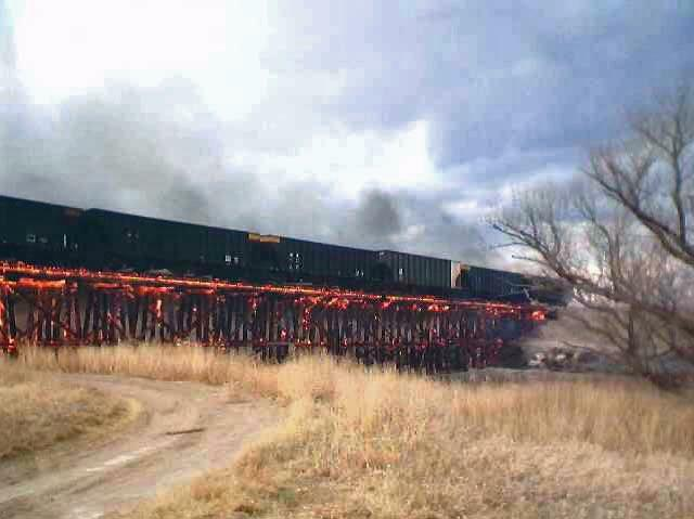 trainfire1 snopes.com: Train Sets Bridge on Fire