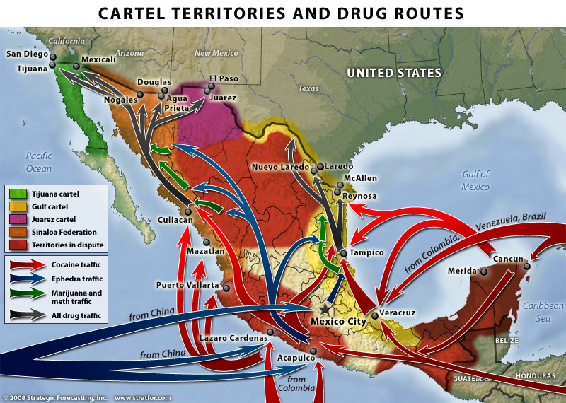 drug traffic routes and cartel areas Mexico Opens 2010 With 69 Murders In One Day