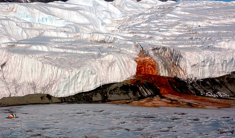 800px Blood Falls 01 Medium Res photolibrary.usap .gov  Antarctic Glacier Has Five story Blood red Waterfall of Primodial Ooze