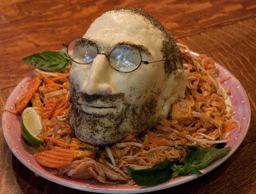 ipadthai Steve Jobs head sculpted from cheese