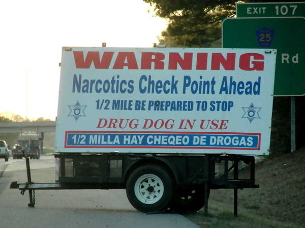 narcotics checkpoint Drug search honeypots