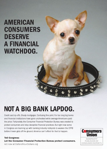 CFPBAd Politico thumb 650x904 50615 359x500 Consumers Union: Americans Deserve A Financial Watchdog Not A Big Bank Lapdog