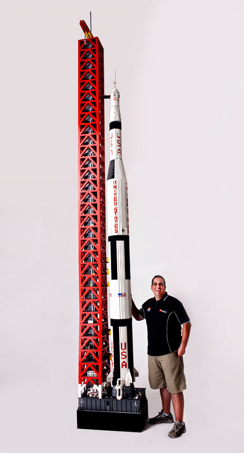 lego rocket Man Builds Minifig Scale Saturn V Rocket Out of 120,000 LEGO Bricks