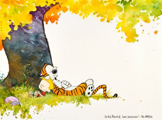 CalvinandHobbes Rare Calvin & Hobbes watercolor up for auction
