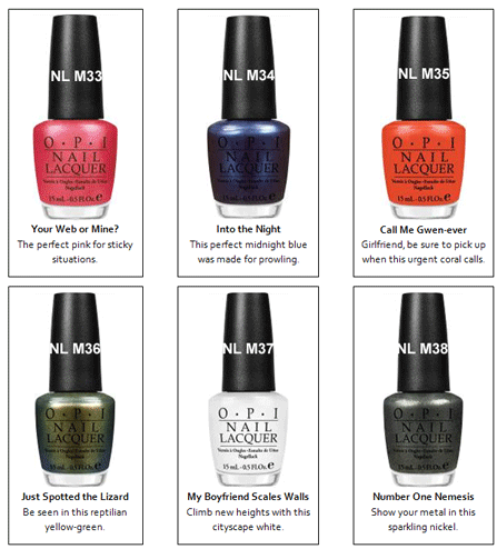 Opi Spiderman OPI Spider man Collection