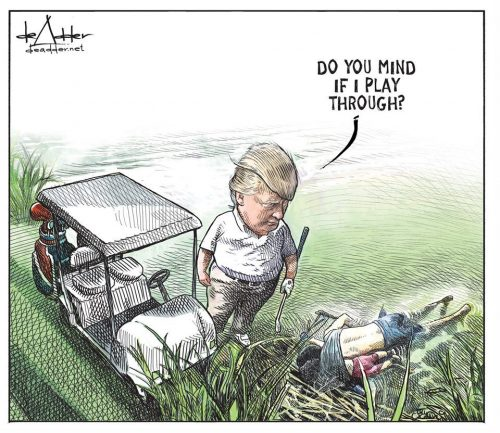 de adder play through 500x433 Canadian Political Cartoonist Michael de Adder Let Go for Submitting A Too On The Nose Cartoon.