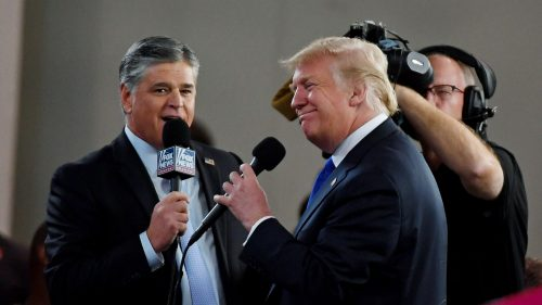 "Trump and Hannity 500x281 ""It's Management Bedlam"": Madness at Fox News as Trump Faces Impeachment"