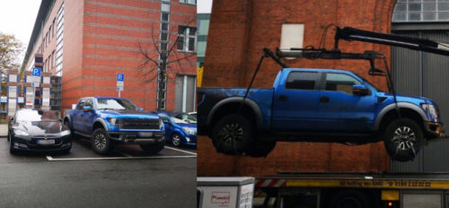 Tesla ICED pickup truck crane 500x232 Tesla ICEd by pickup truck gets satisfying justice as police lift it off with crane   Electrek